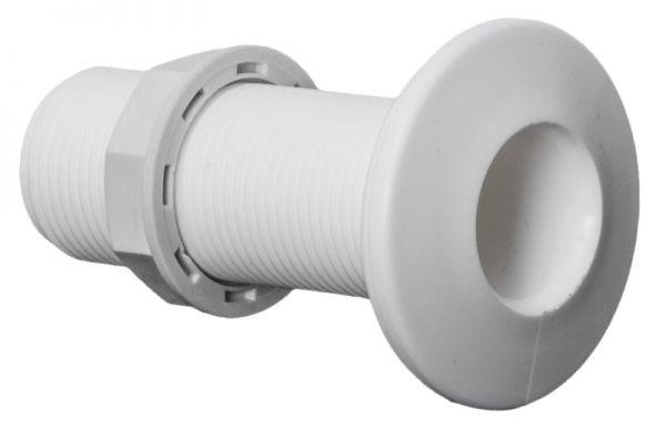 Borddurchlass aus weißem Kunststoff mit Gewinde