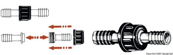 Zylinderförmige Nylonanschlüsse fürWasserleitungen
